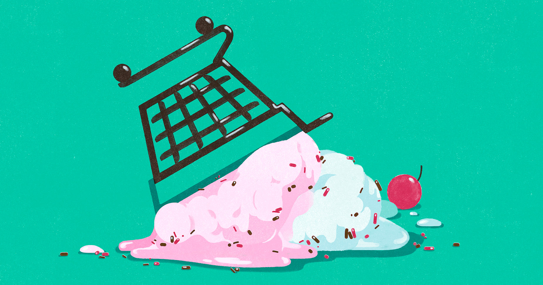 Illustration of a shopping cart filled with ice cream that's tipped over, representing the mistakes one can make when starting an online business