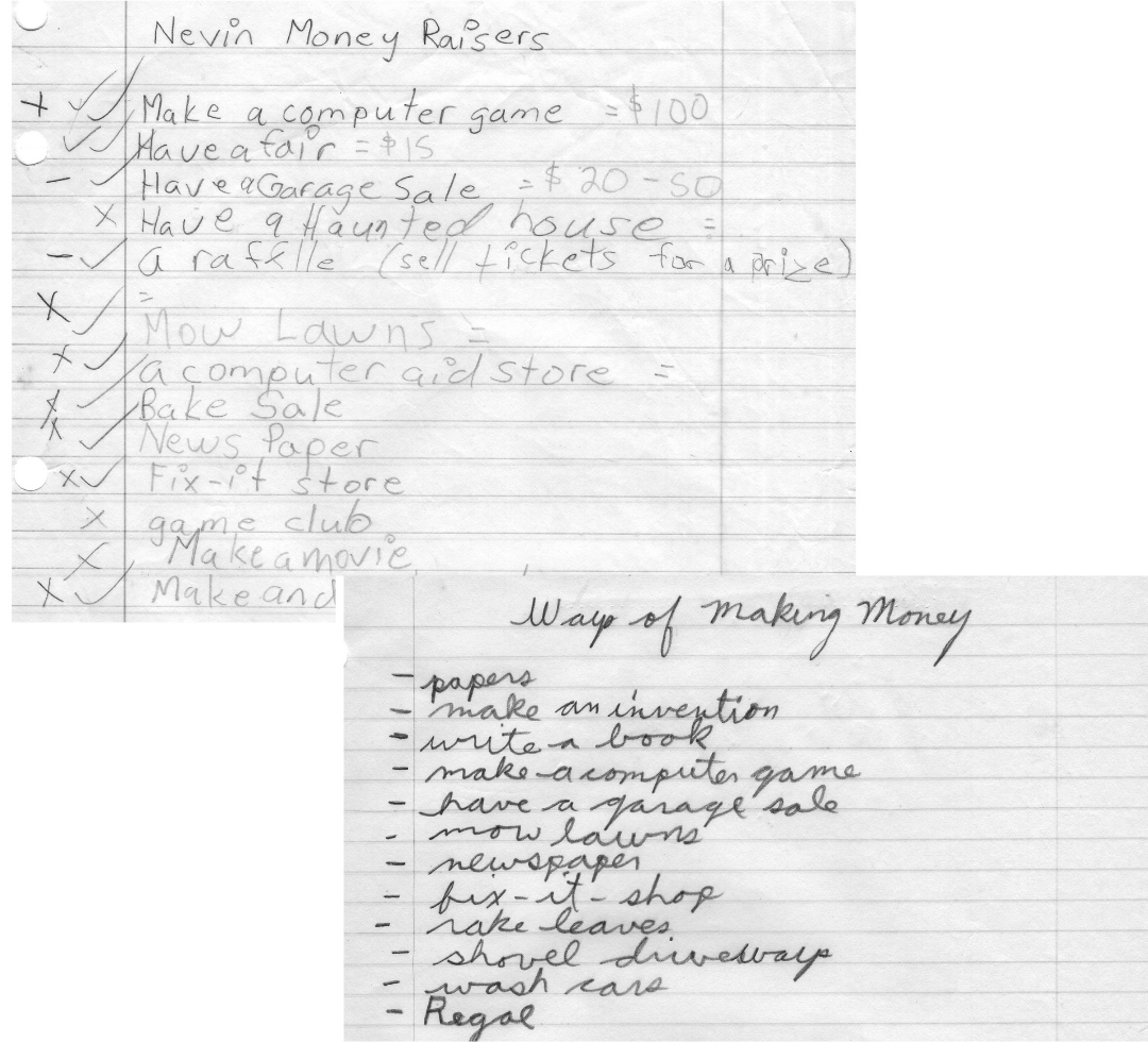 Early business ideas found among the author's elementary school notes