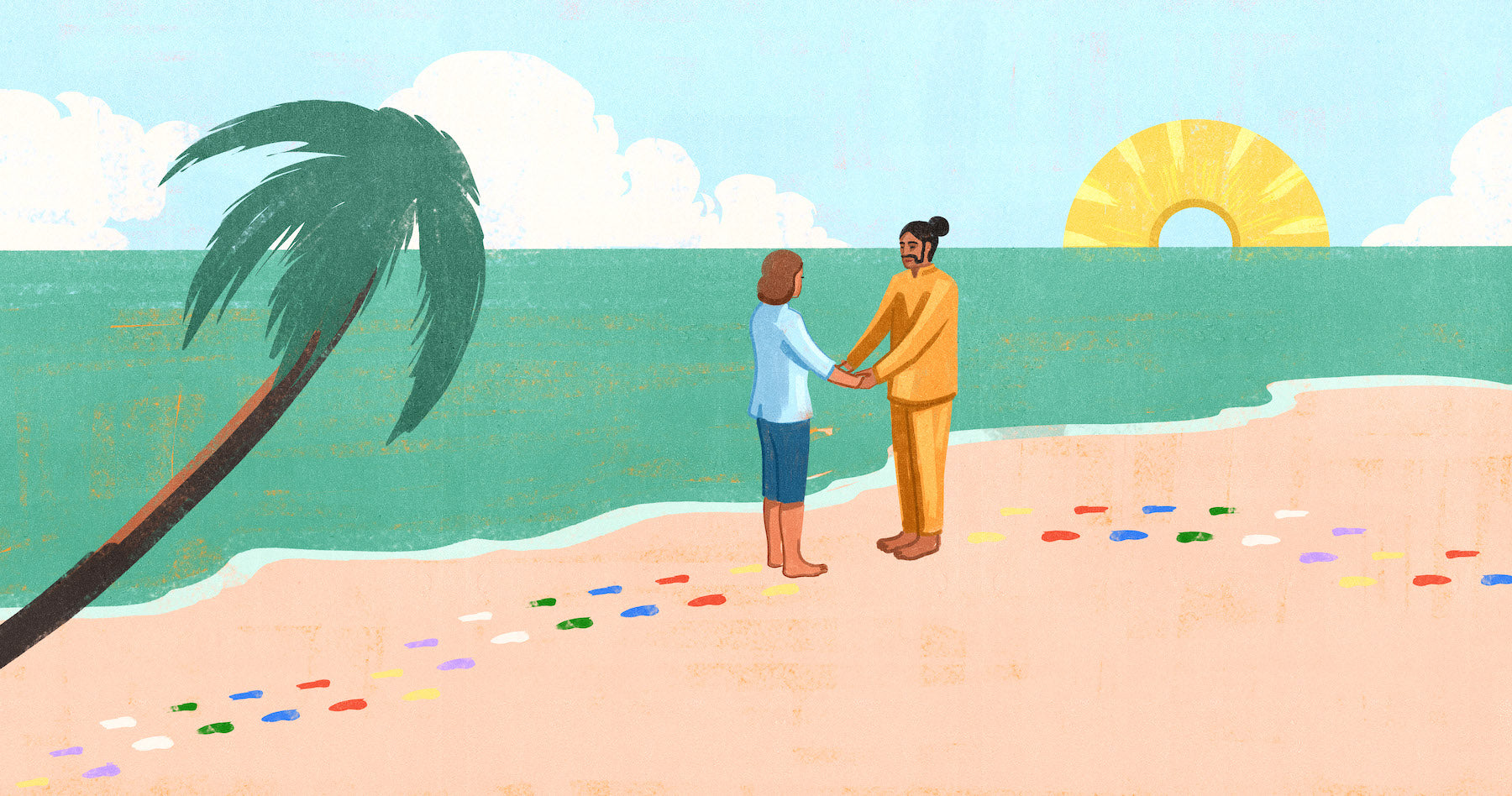 Illustration of a south asian man and a caucasian woman standing on a Sri Lankan beach facing each other holding hands with a palm tree in the foreground leaning towards them. The half sun that is rising is a pineapple.