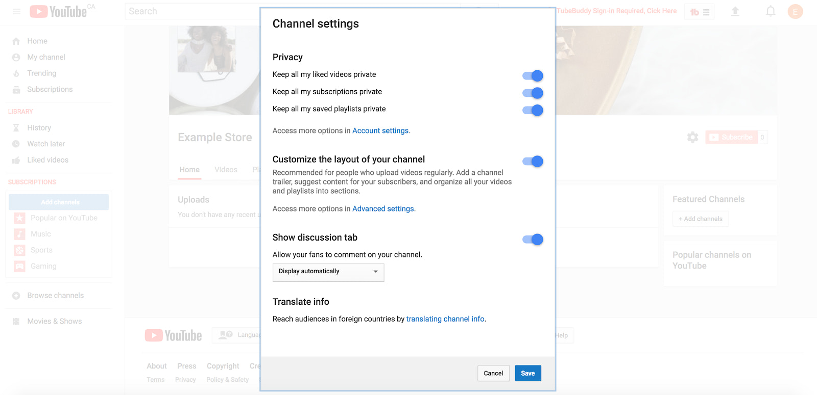 All of the channel settings you can customize when using YouTube for your business