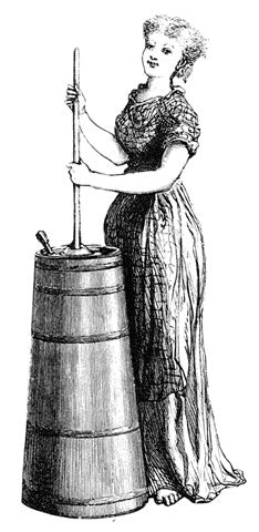 Old-style woodcut of a woman with a butter churn