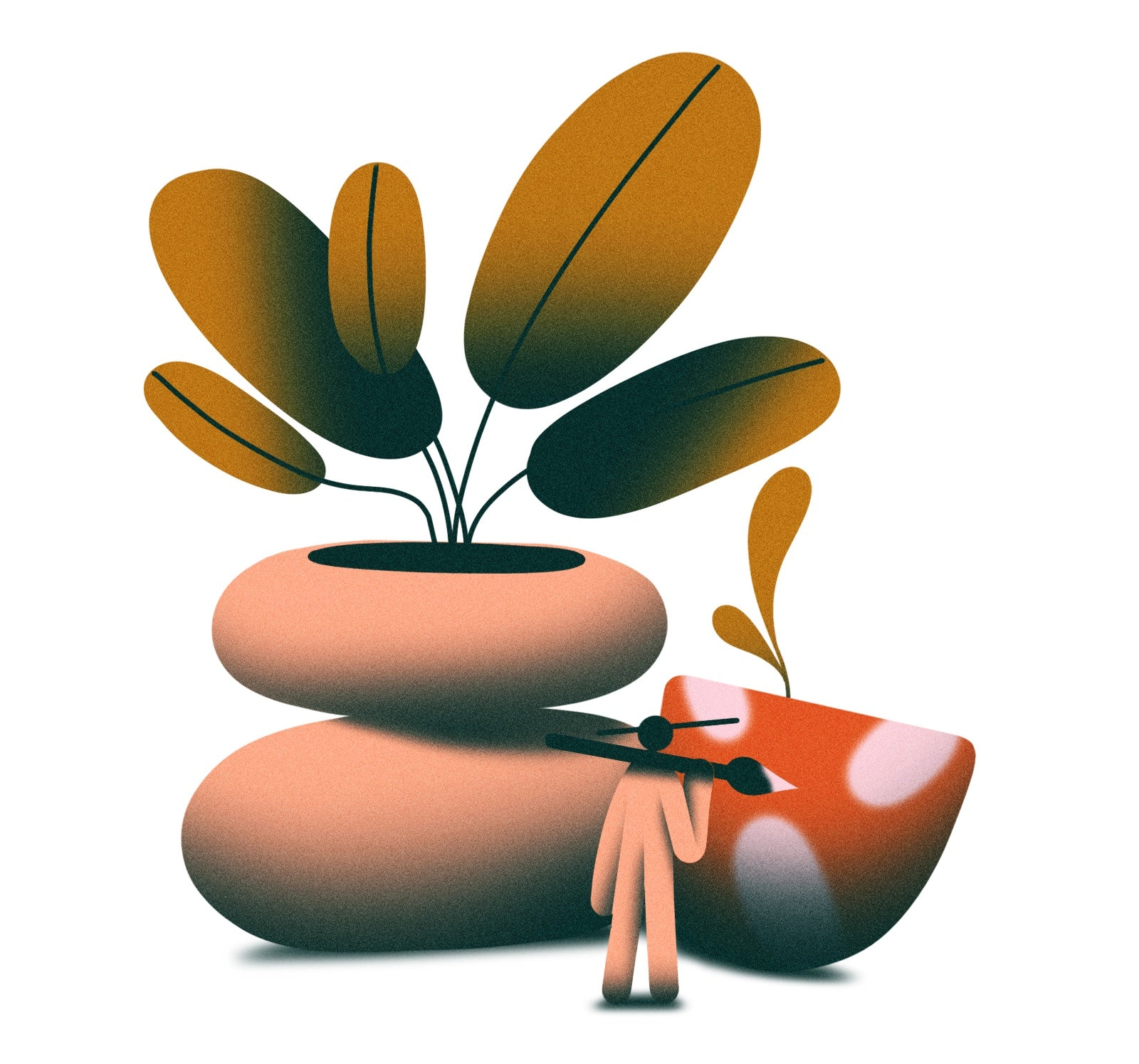 Illustration of a person painting oversized plant pots