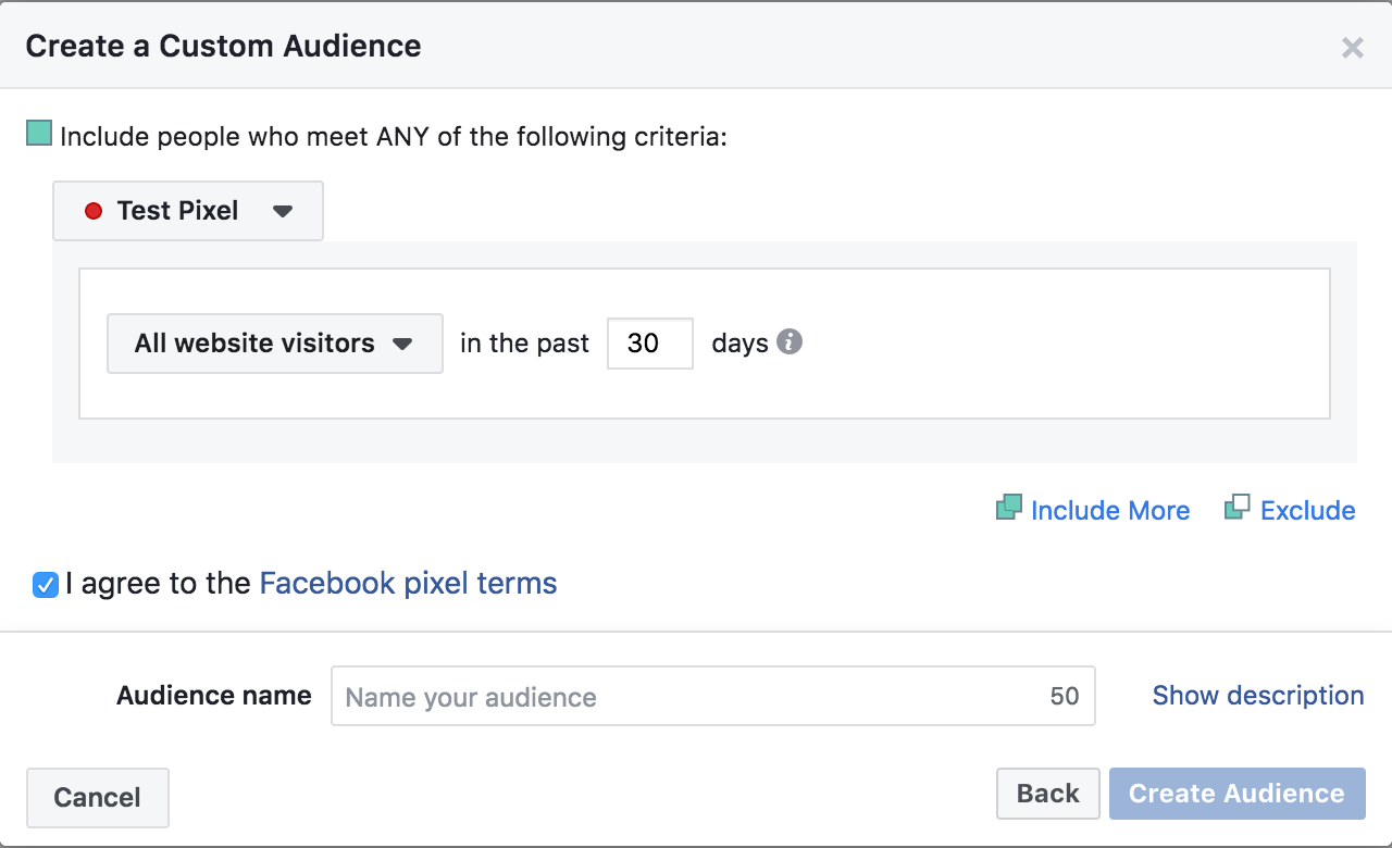 Create a custom audience.