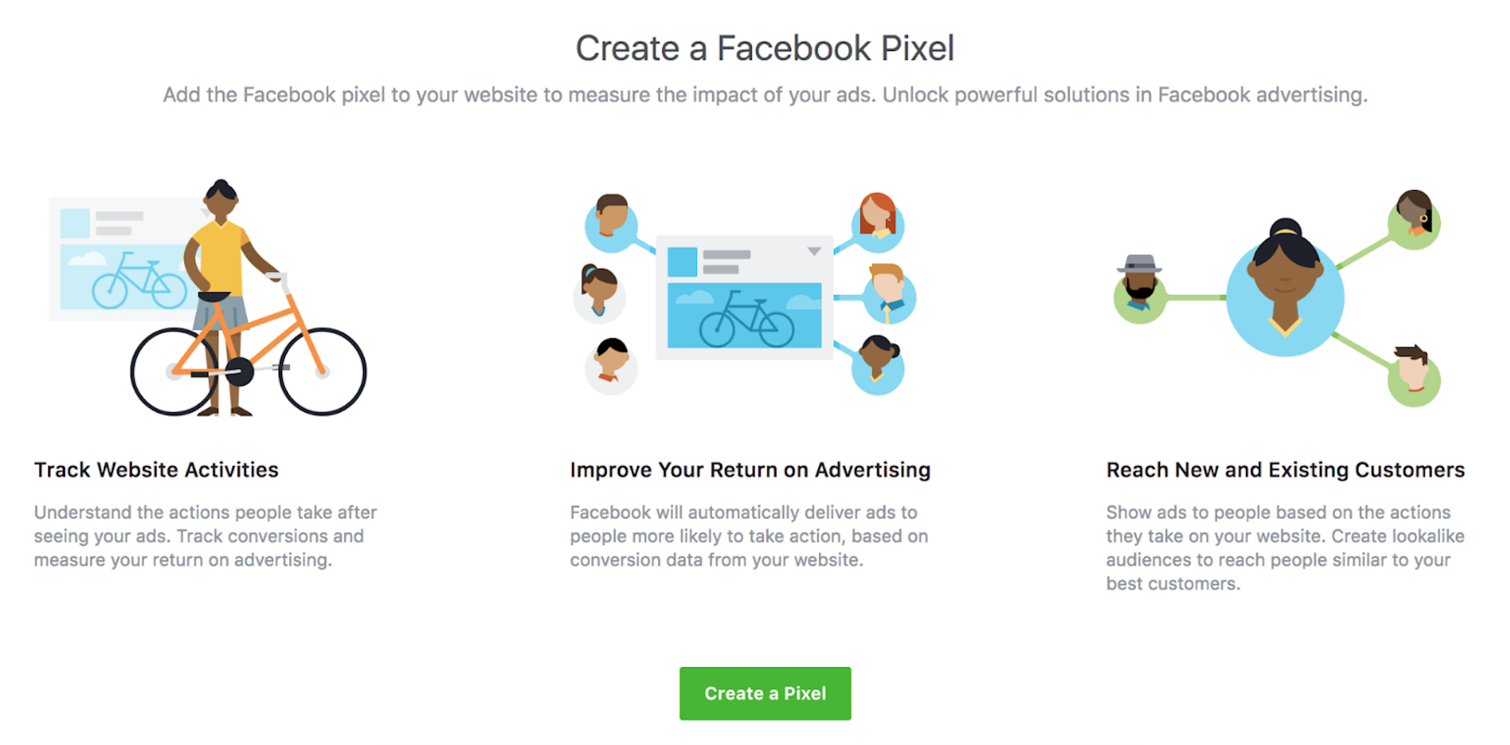 Create Facebook pixels.