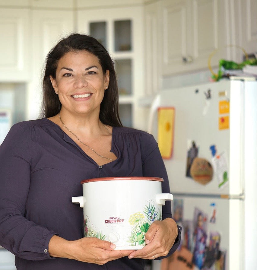 Patrice Mousseau with the Crock-Pot that started her journey of launching Satya