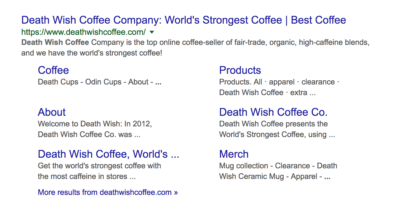 Death Wish Coffee search engine results page