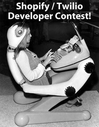"""Shopify/Twilio Developer Contest"": 1960s photo of a woman at a ""futuristic"" computer console"