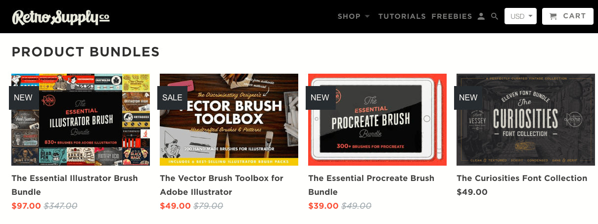 retro supply co. sells digital products for designers