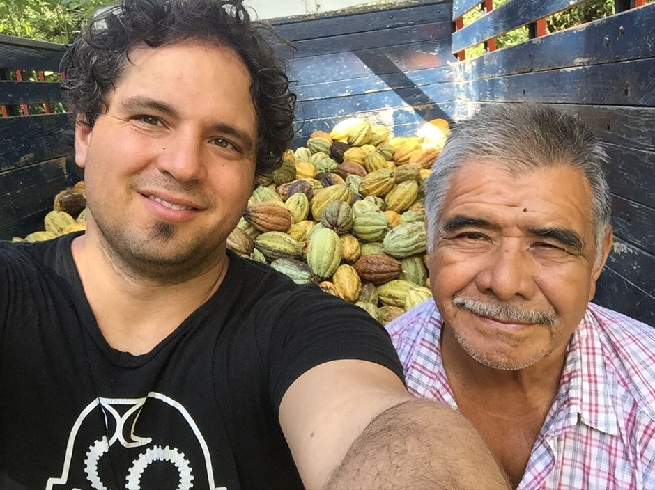 Michael Sacco, along with Don Flor, one of the farmers in Mexico who works directly with ChocoSol