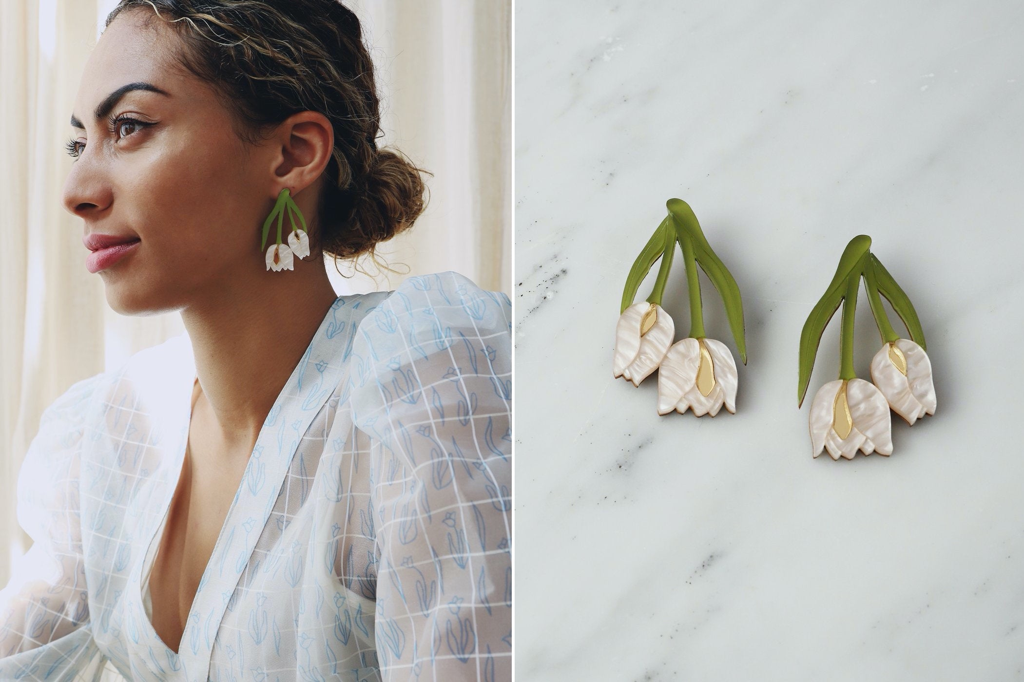 Side by side images of the same set of earrings shot two ways: lifestyle on a model, and product on a clean background
