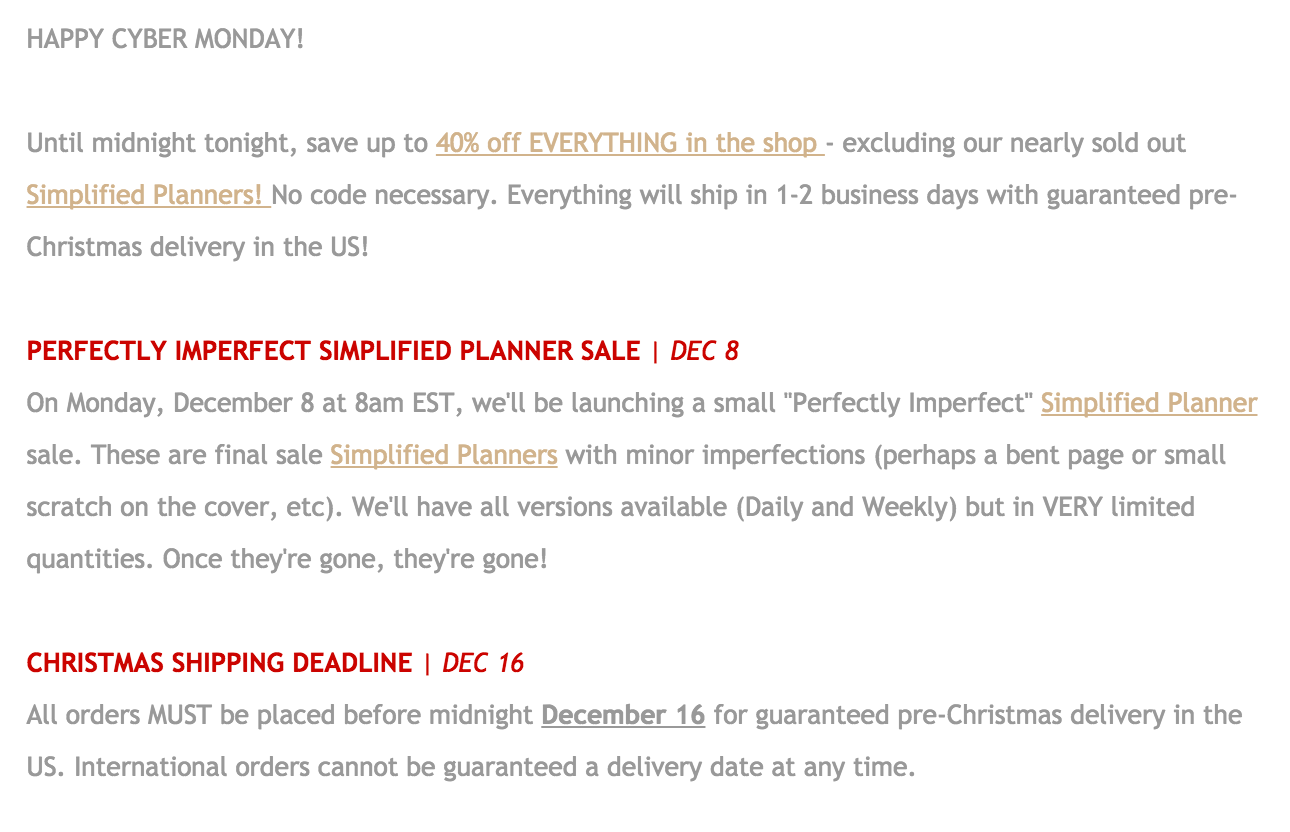 An email from Emily Ley promoting their holiday shipping information