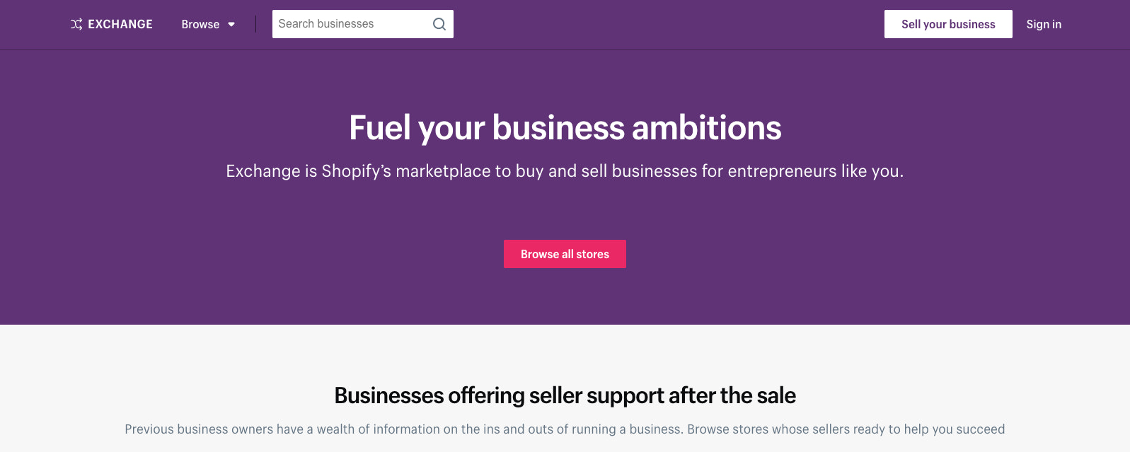 An image of the homepage of Exchange, a site where you can buy an existing business.