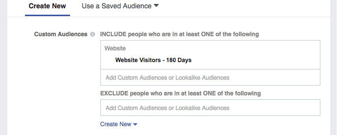 Screenshot of creating a website custom audience with an exclusion