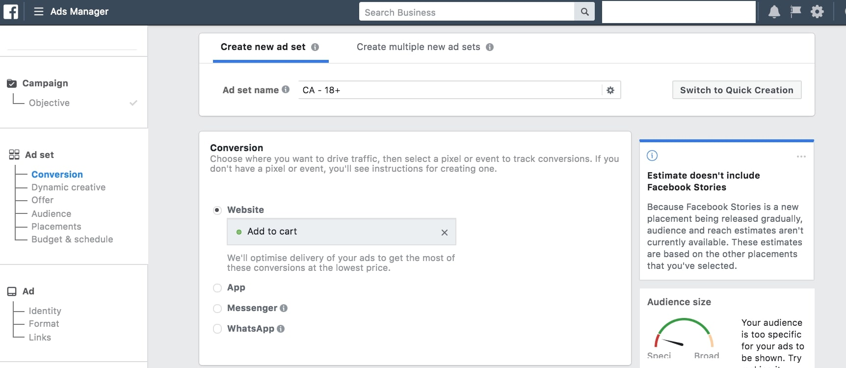 creating facebook ad set