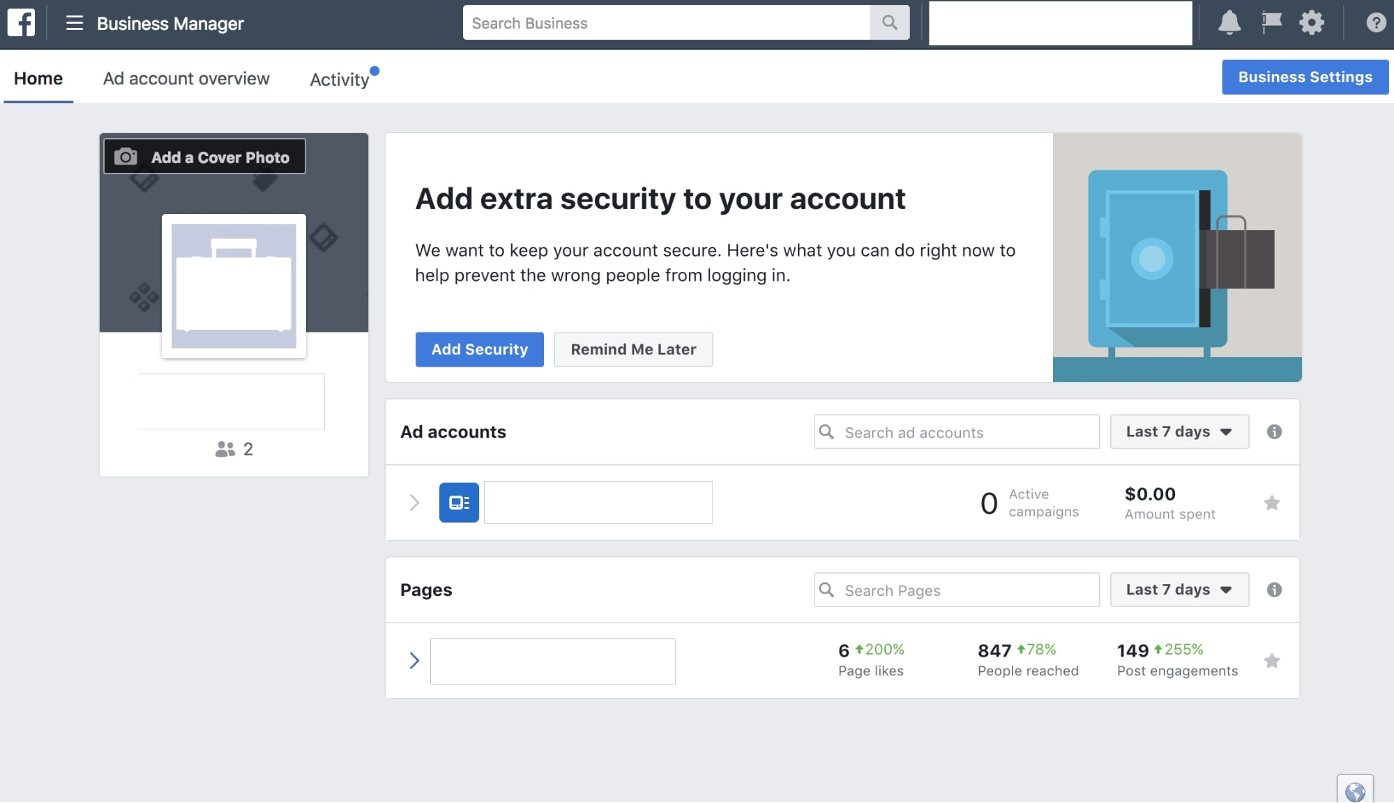 setting up facebook business manager