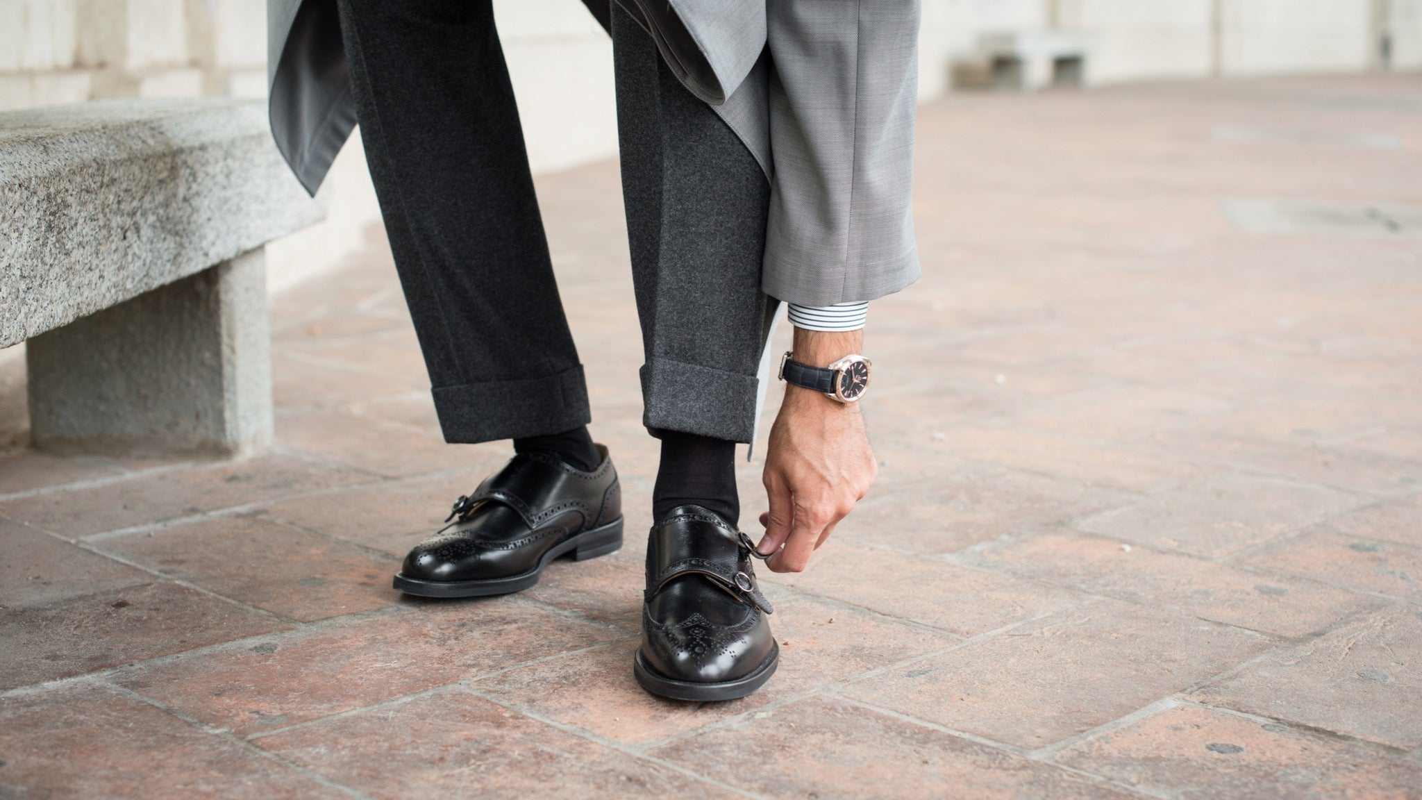 A pair of double monk straps shoes by Velasca.