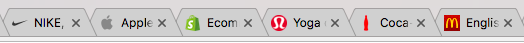 Examples of favicons from big brands.