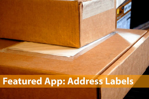 """""""Featured App: Address Labels"""": Picture of shipping boxes"""