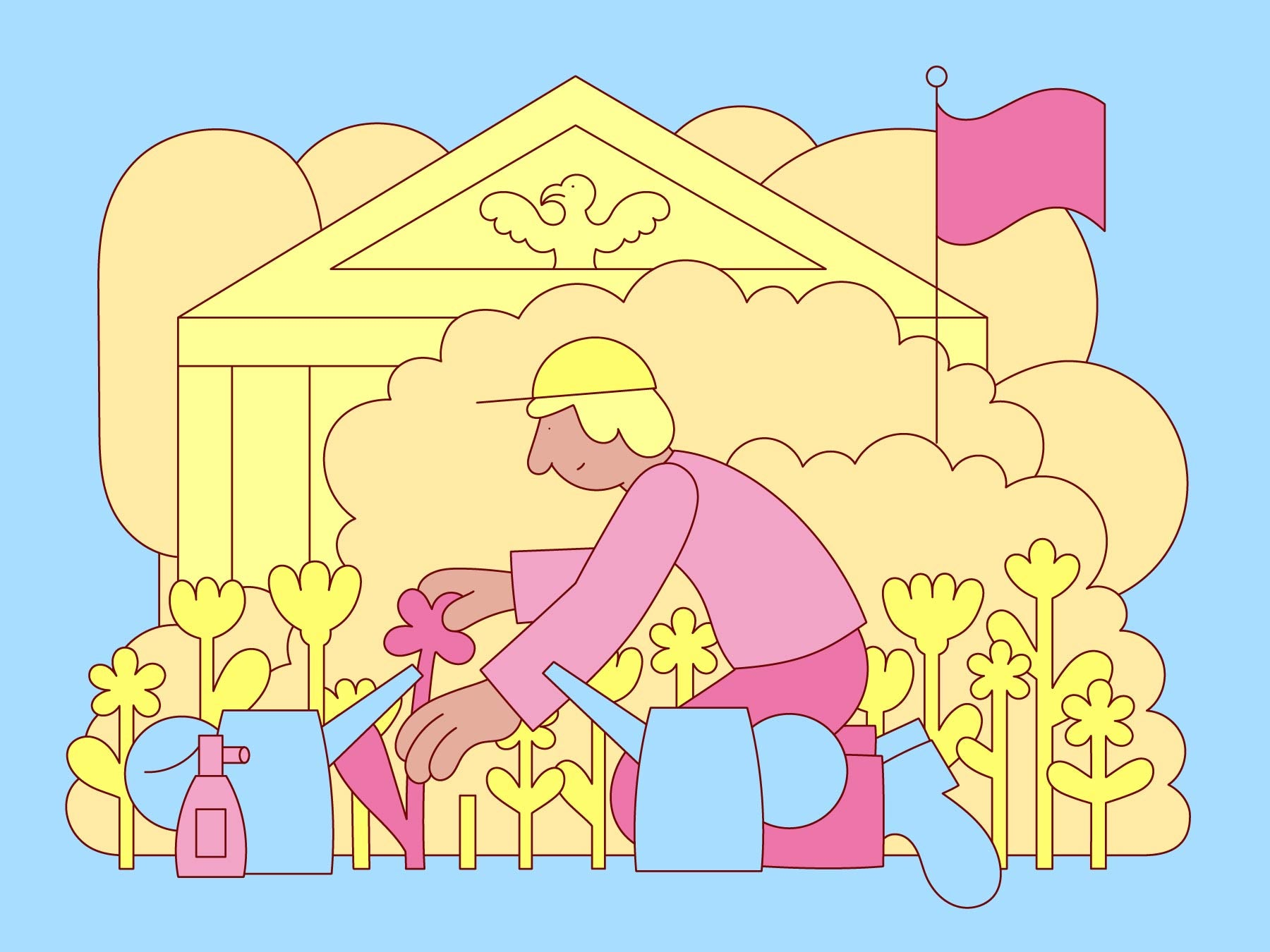 Illustration of a person gardening the lawn of a federal building