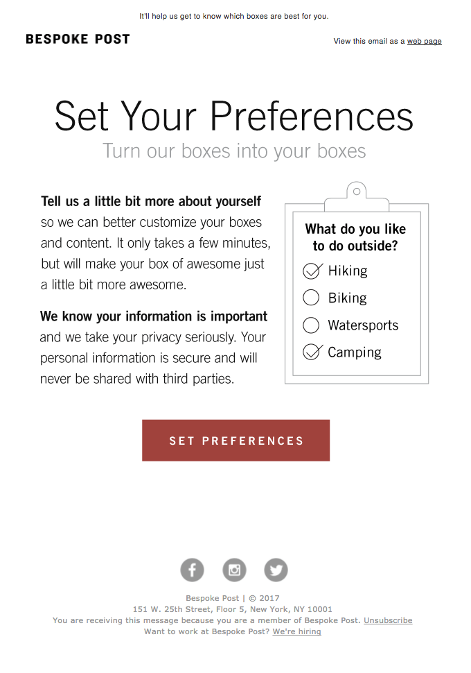 An email example of how to ask your customers to tell you more about their preferences.