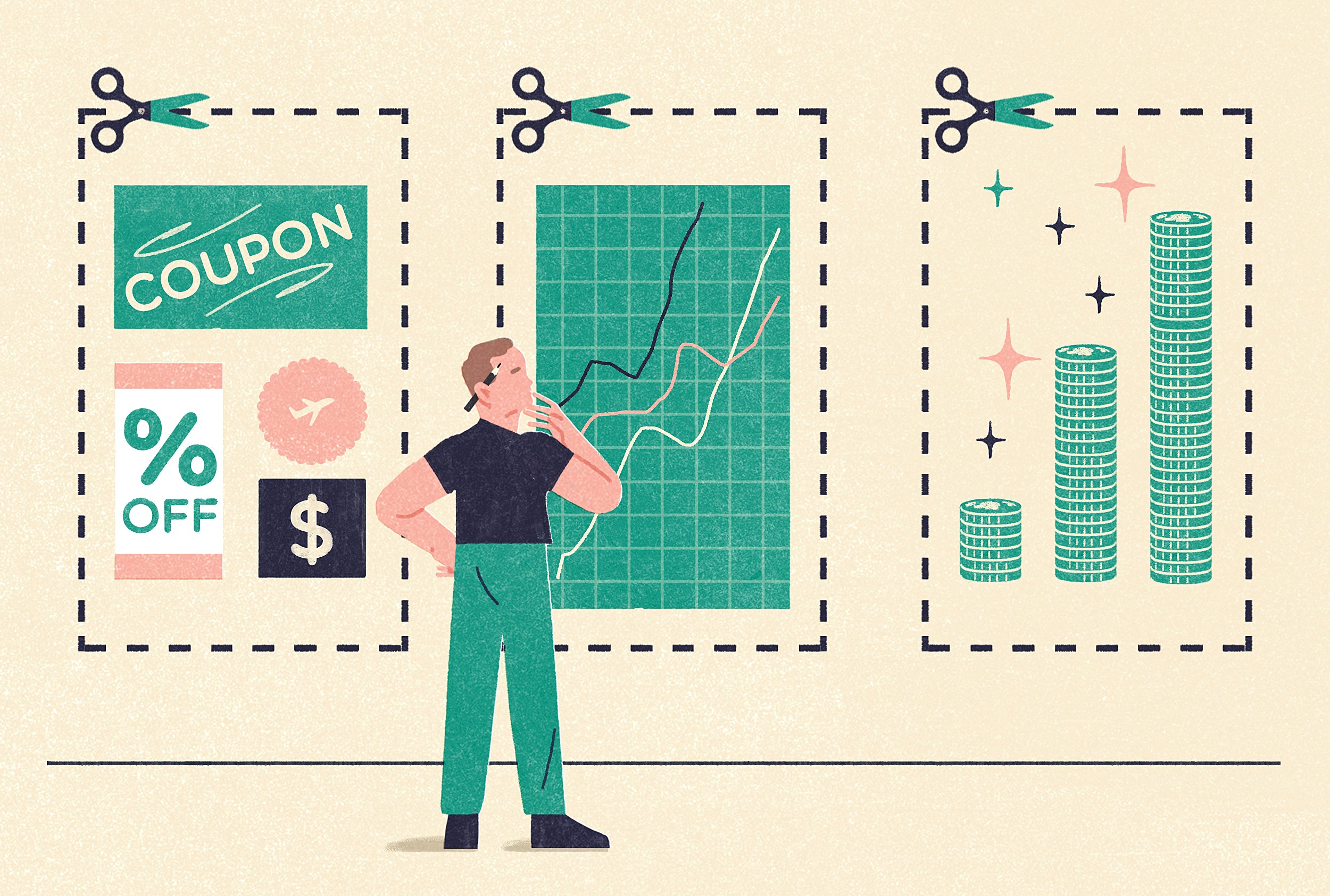 Illustration of a person examining three panels that represent the FIRE movement: saving, investing, and increasing income