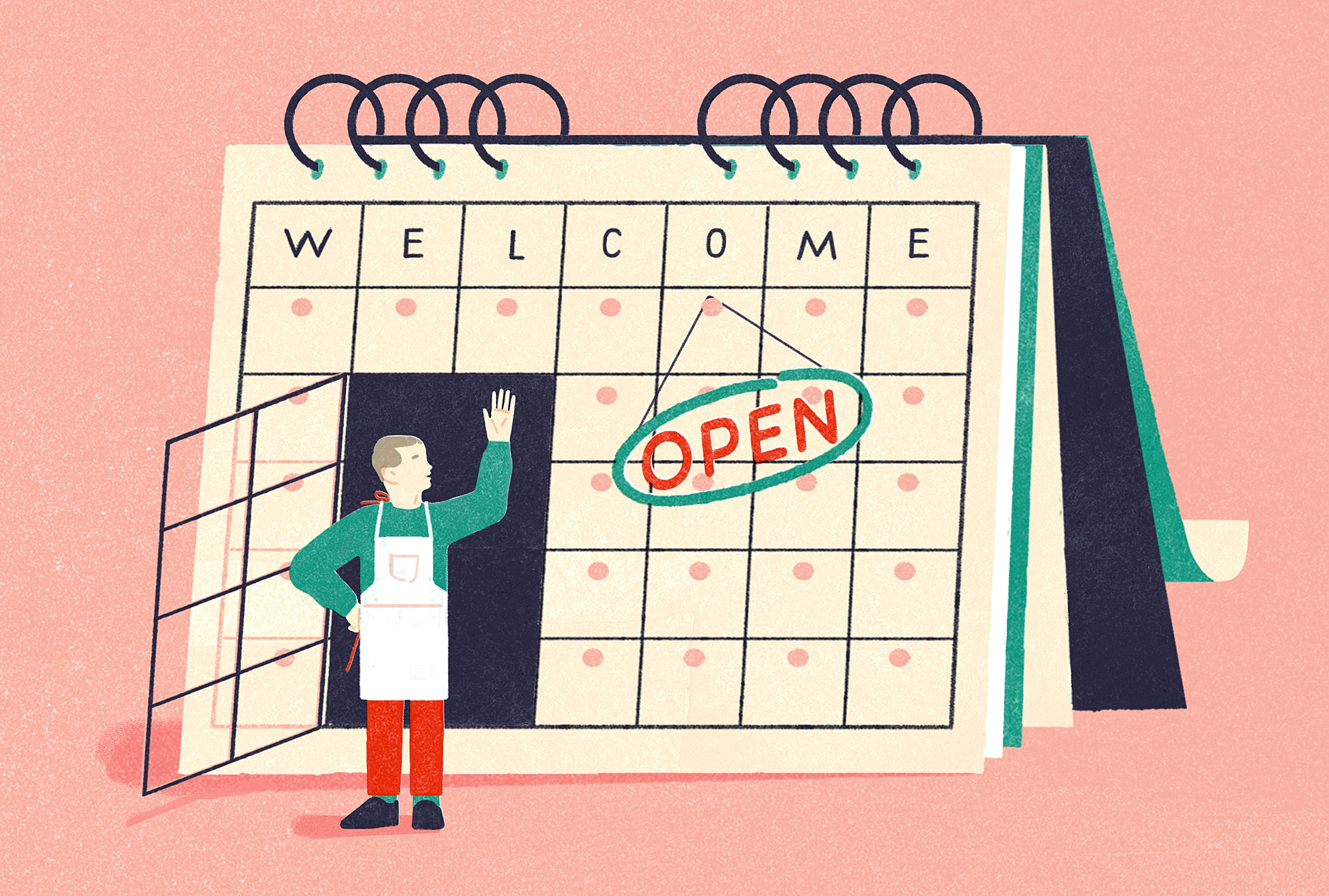 """Illustration of a store owner emerging from a door that's built into an oversized calendar. A sign reads """"OPEN"""""""