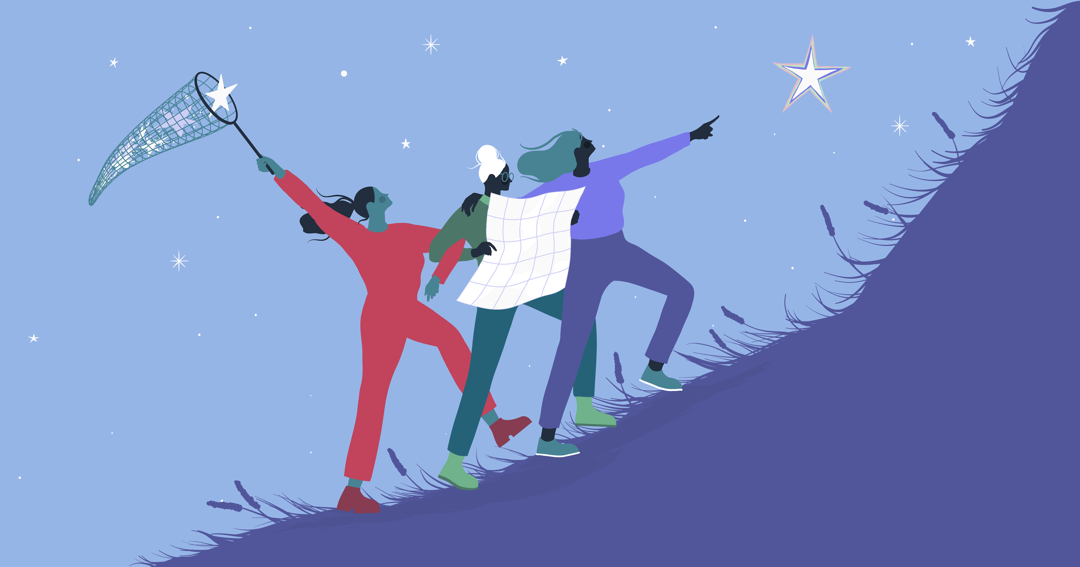 Illustration of three people climbing a hill together signifying the act of building community