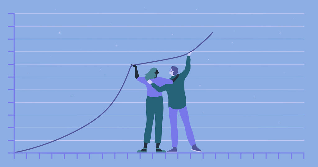 Illustration of two people holding up a line on a graph