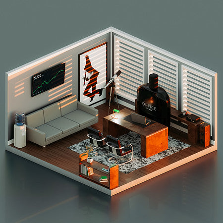 A bottle of Office for Men by Fragrance One placed in a model of an office.