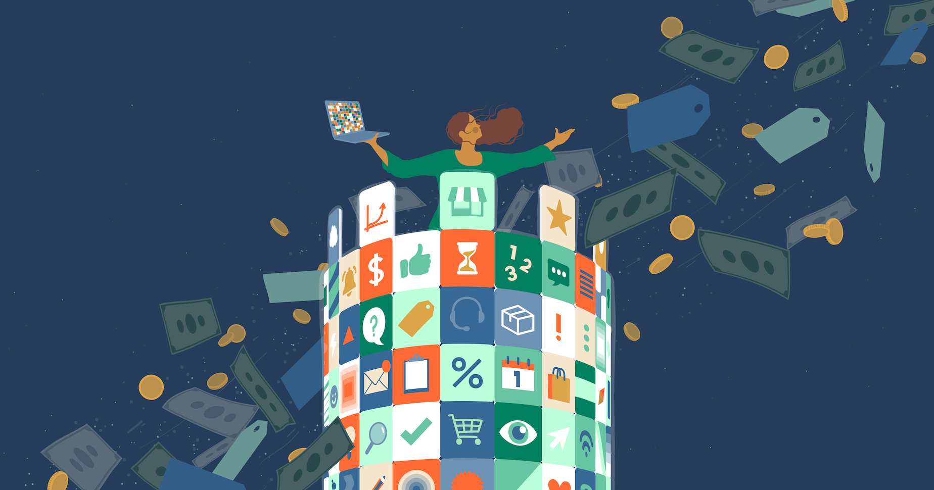 Illustration of a woman standing amongst icons for the best free Shopify apps available