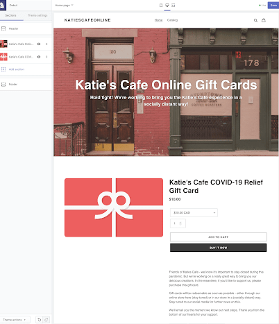 a basic homepage design for a gift card
