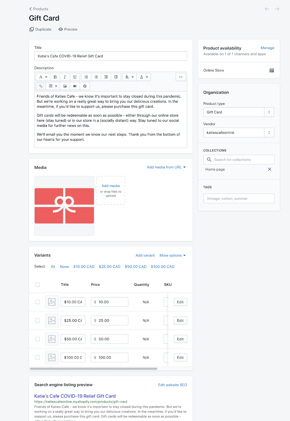 completed gift card product page