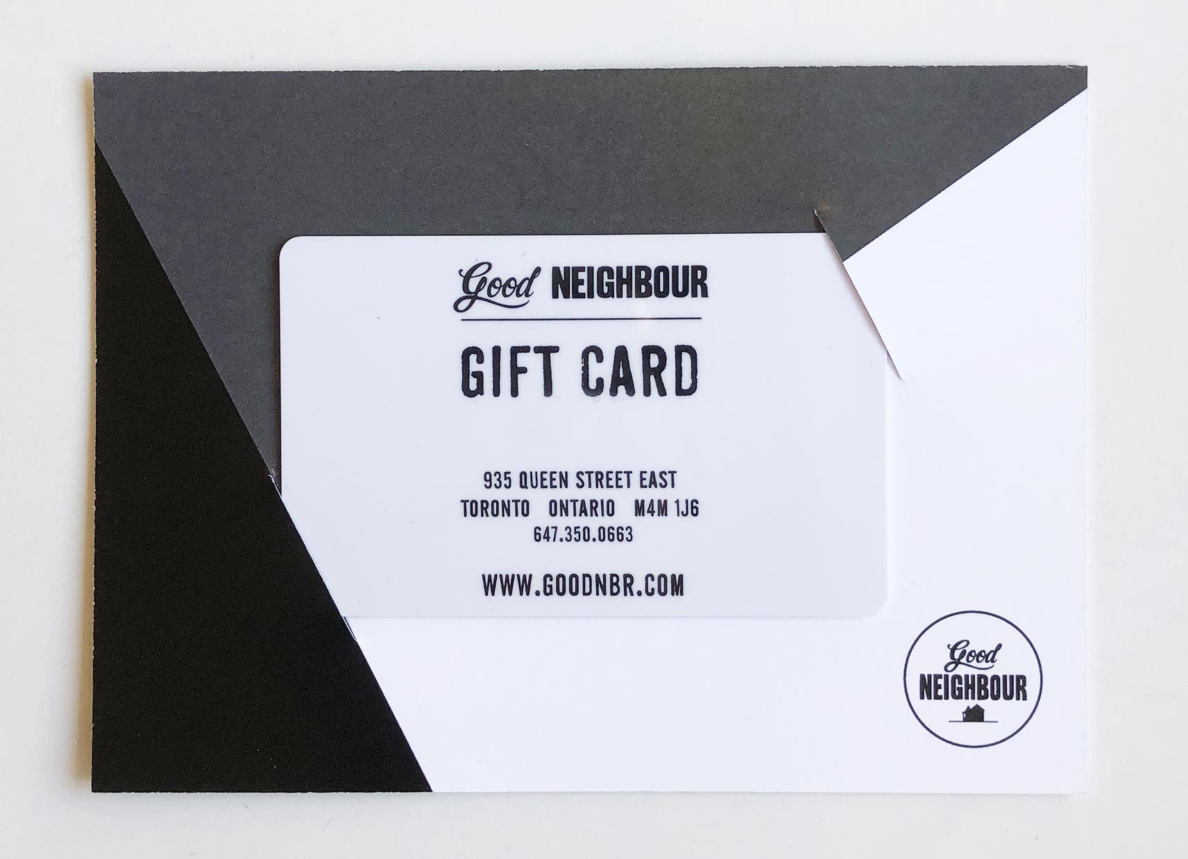 gift card in a cardboard sleeve