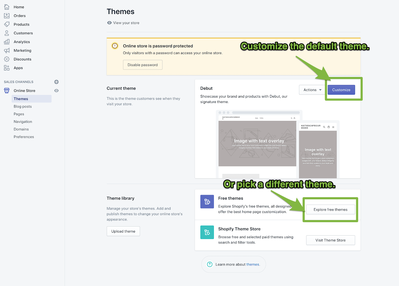 customize theme in Shopify