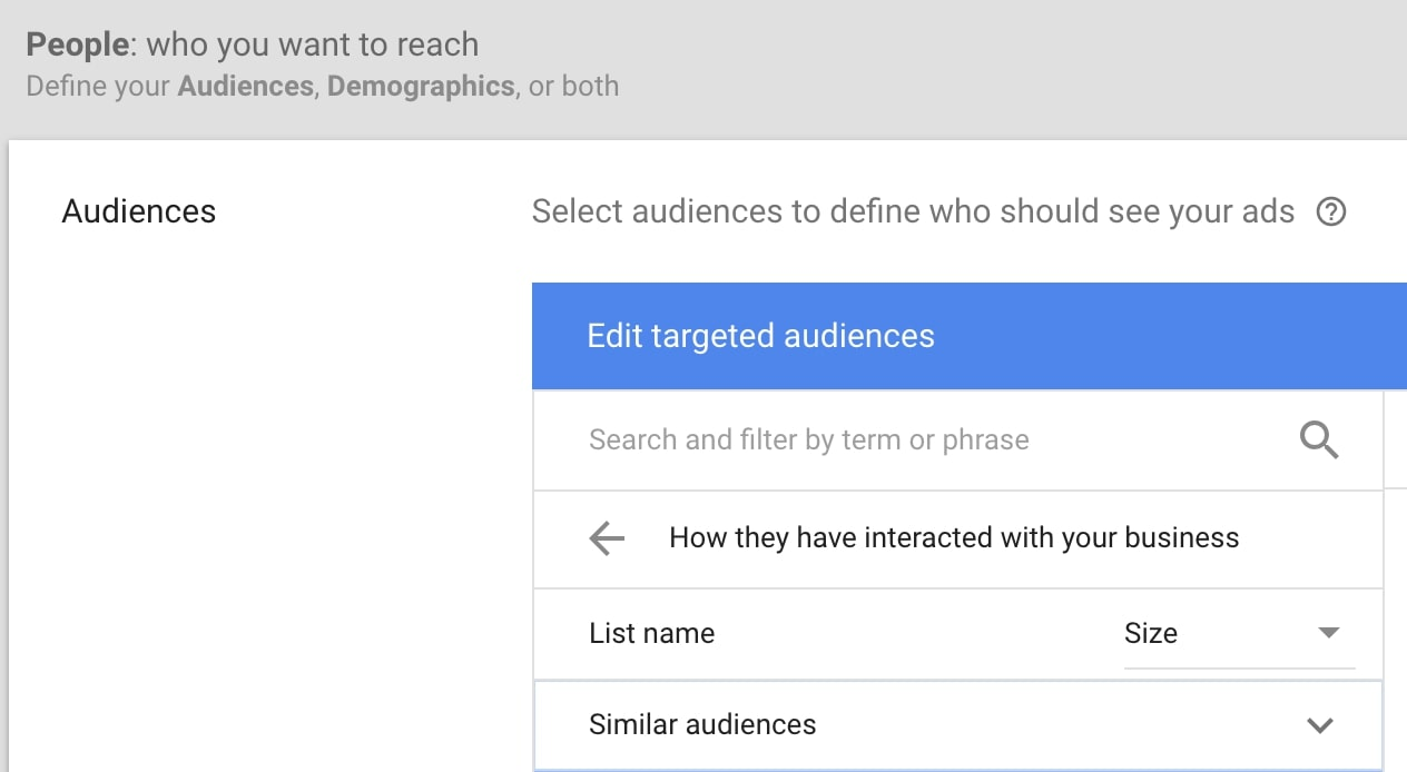 google similar audience campaign