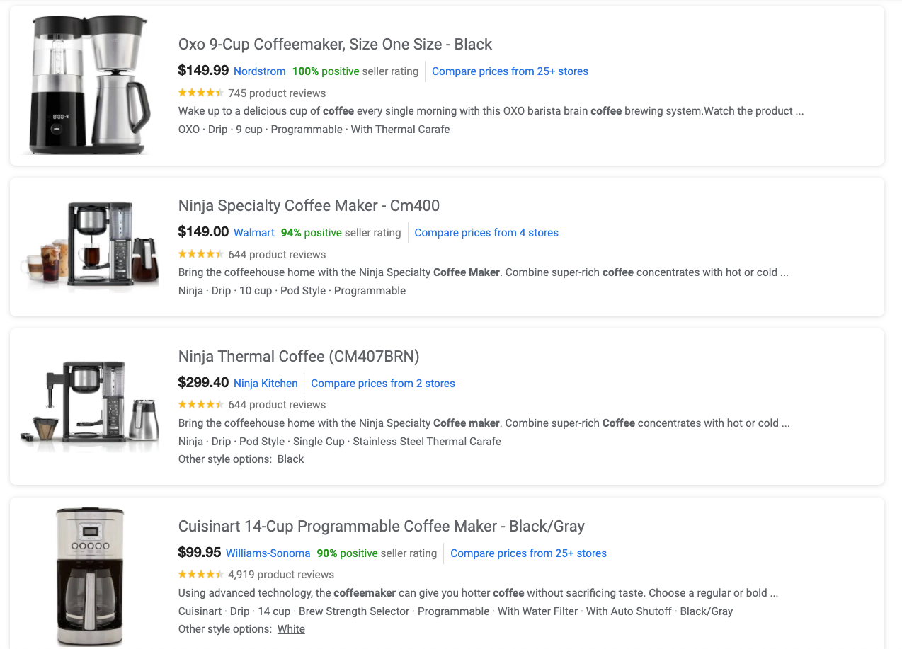 Example of the product description in Google for Shopping ads. A vertical display with each entry having a left aligned image, product title, price and manufacture, and two-three line product description