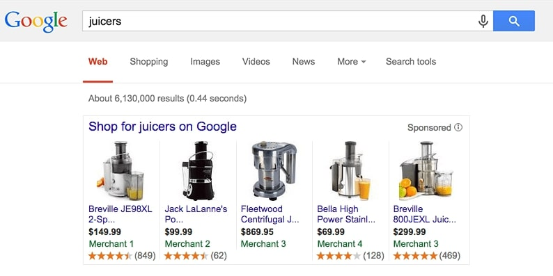 google product ratings example