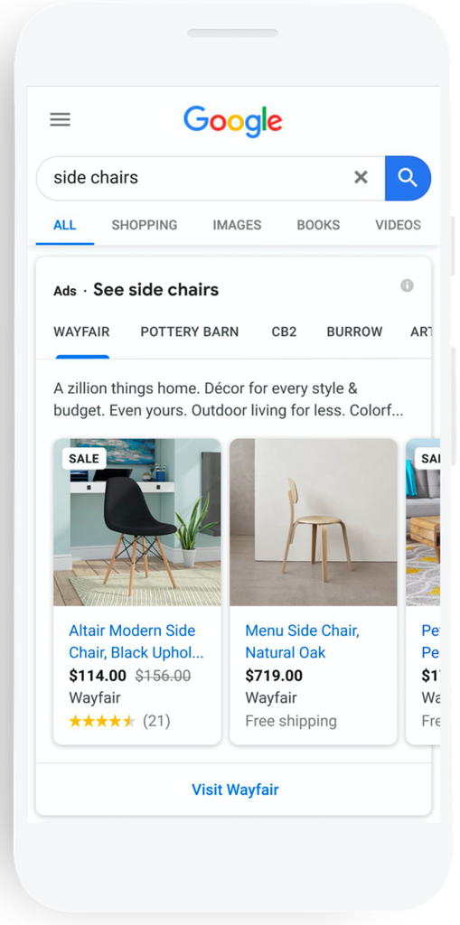 Example of how Google's showcase shopping ads appear
