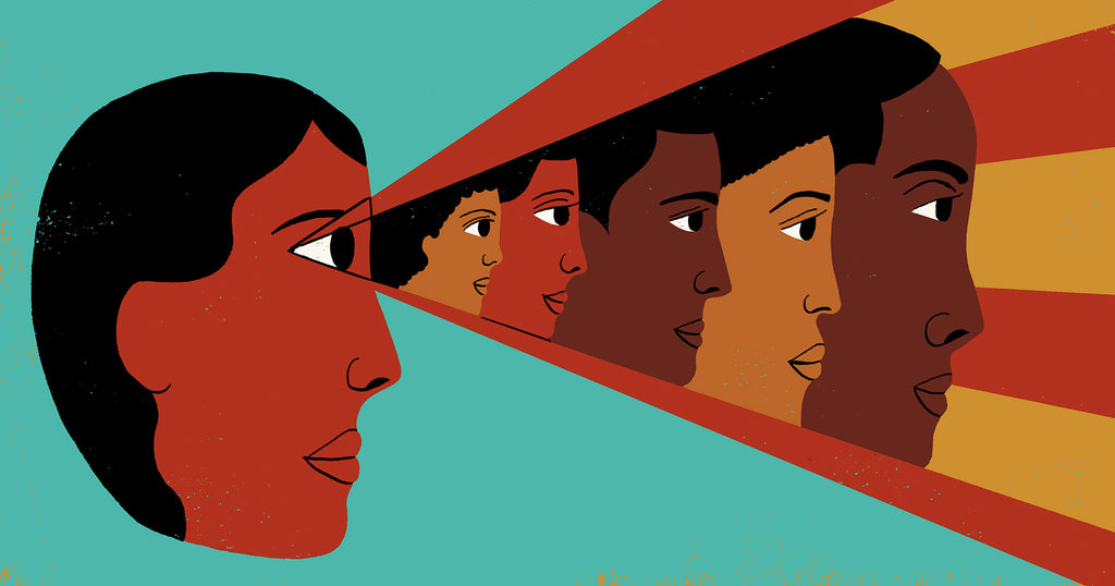 Illustration of a Black woman looking into the future. Rays from her eyes contain generations of Black people ahead of her.