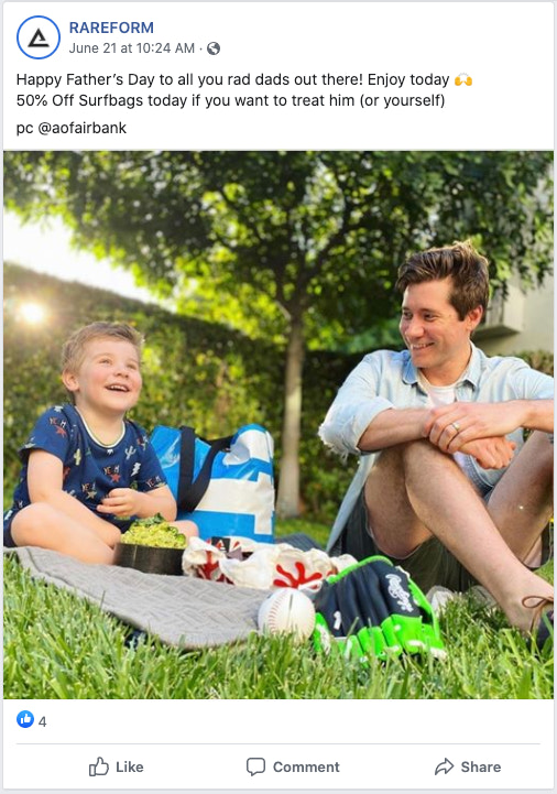 Example of the brand Rareform's Facebook post to drive traffic to their products during a Father's day promotion