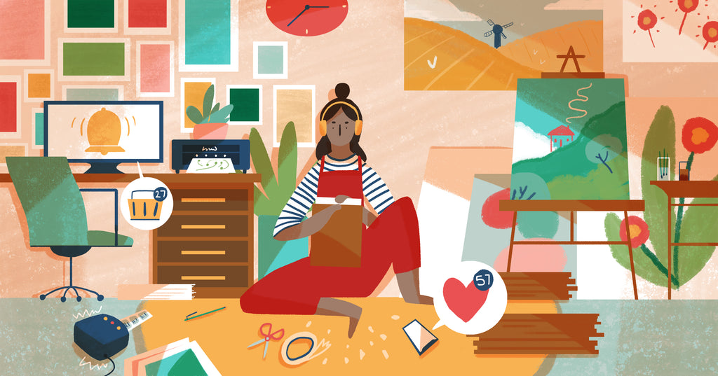 Illustration of a woman sitting on the floor next to her desk browsing ways to drive more traffic to her online store