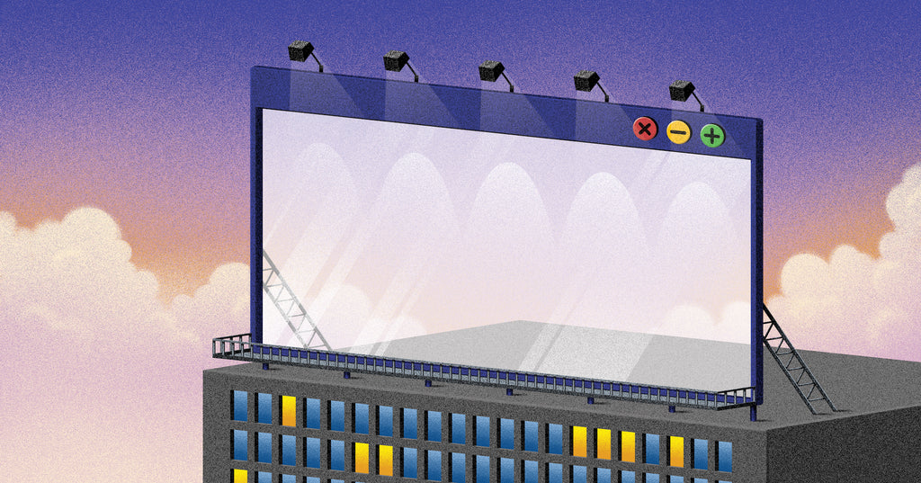 Illustration of a browser window in place of a billboard on the side of a building