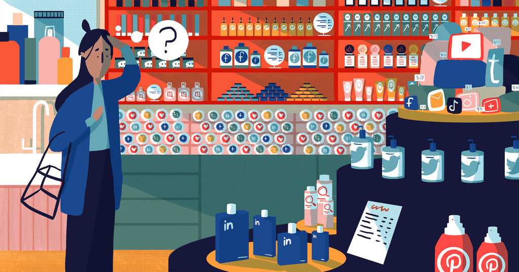 Illustration of a business owner in a skincare style shop browsing the shelves with products representing the many ways she can promote her business