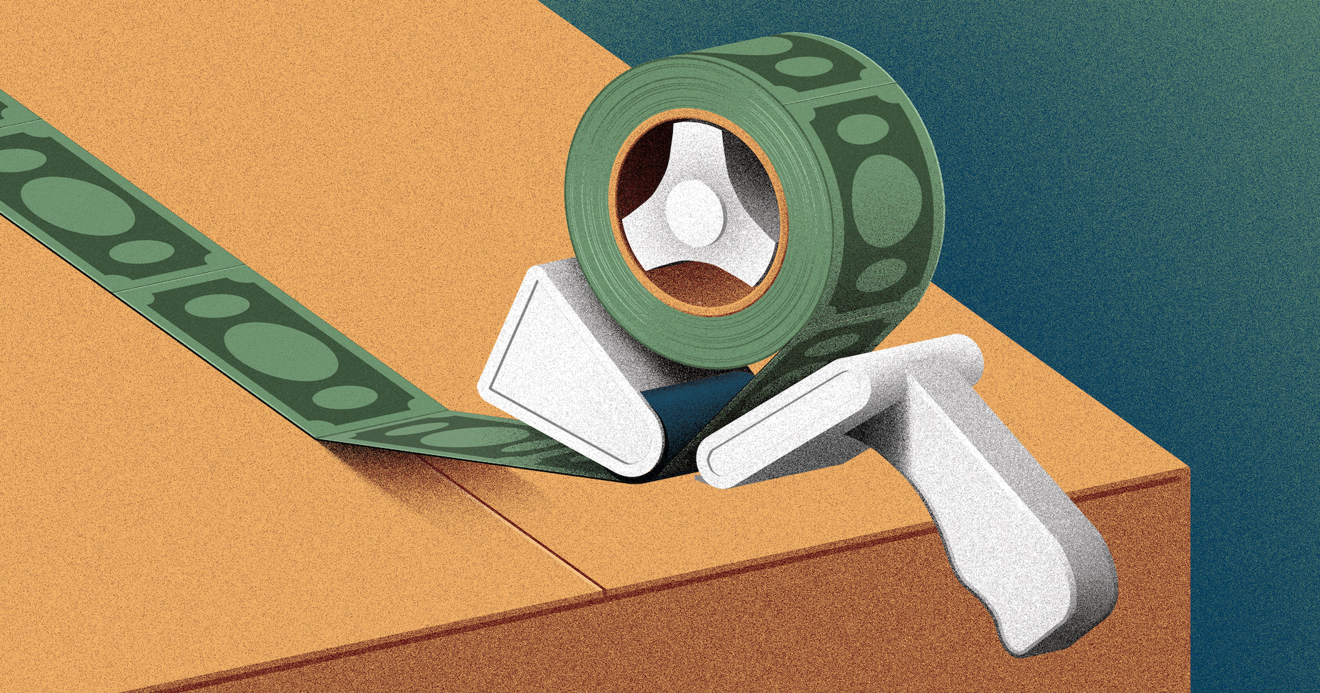 Illustration of tape sealing a box about to be shipped with dollars bills to show that you can save on shipping costs