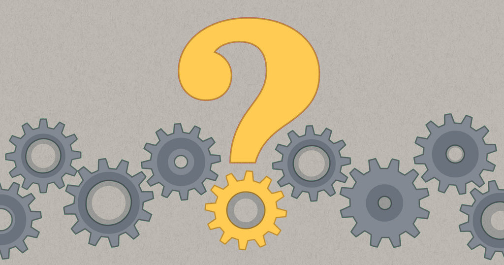 Illustration of a question mark in the center surrounded by cogs to illustrate how to write an FAQ page