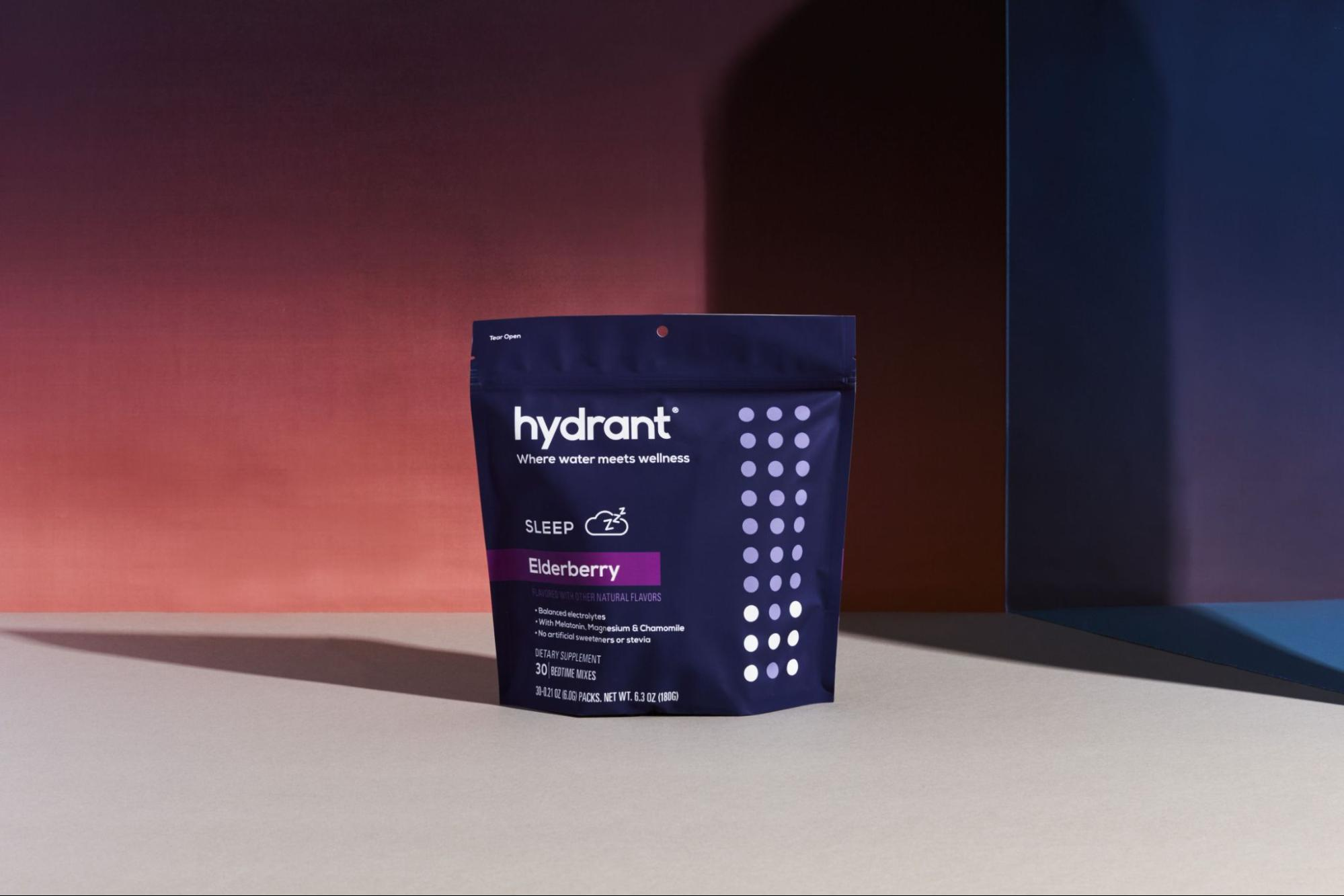 The Sleep mix by Hydrant backdropped against a deep berry and violet background.