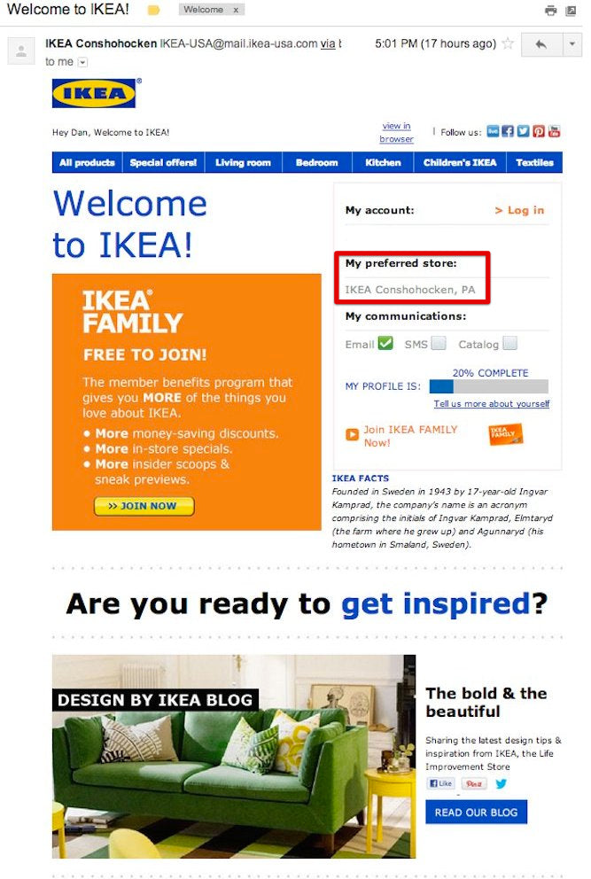 IKEA's welcome email is busy, perhaps too busy. It shares its recent blog  posts, some of its new items on its catalogue, and most interestingly, ...