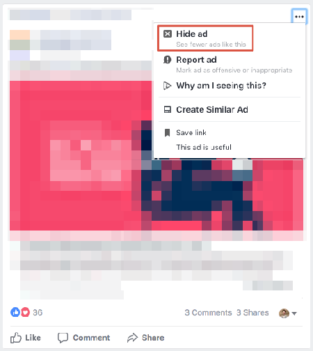 hide facebook ad