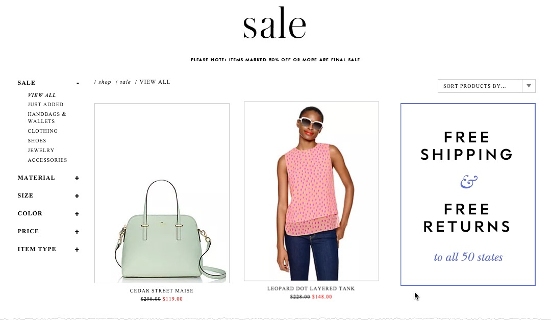 Sale landing page