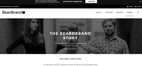 Screenshot of Beardbrand website and branding.